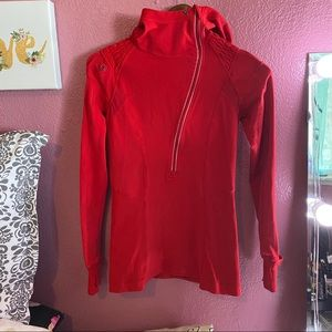 Lululemon athletic jacket hood 1/2 zip red size 4